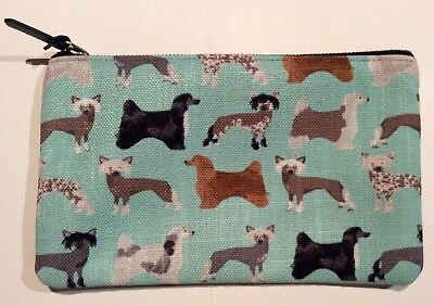 "Chinese Crested Hairless and Powder Puff Zipper Pouch 9.5""x6"""