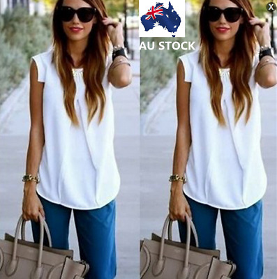 AU Womens Summer Casual Sleeveless Tops T Shirt Loose Blouse White Size 6-16