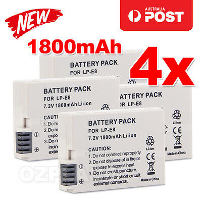 4X Battery For Canon LP-E8 LPE8 EOS Kiss X4 550D 600D 700D 650D