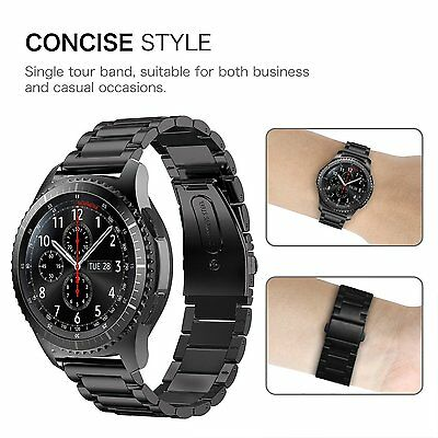 For Samsung Gear S3 Watch Band Stainless Steel Bracelet Strap with Folding Clasp