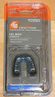 Shock Doctor Gel Max Strapless Blue/Black  Zahn- Mundschutz mit Box