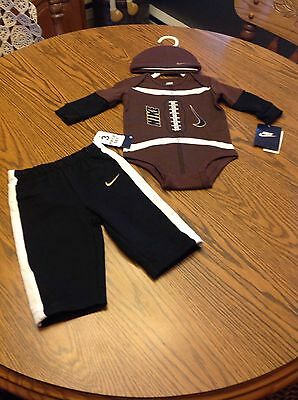 Nike Football 3 Piece Novelty Baby Pants, Long Sleeve Tee & Cap Size 0/3 Months