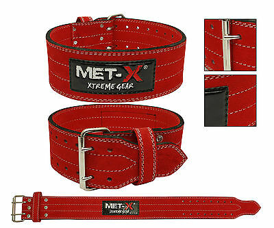 Weight Power Lifting Leather Belt Gym Training Powerlifting Red
