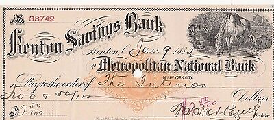 Antique Check  Kenton Savings  Bank, Kenton, Ohio  1882  Vignette & Stamp