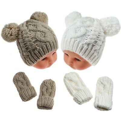 Baby Boy Girl Chunky Cable Knitted Pompom Hat & Mitts Set 0-12 Months One Size