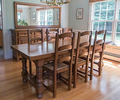 Authentic Solid Oak French Farmhouse Dining Table, Sideboard, Chairs and Mirror