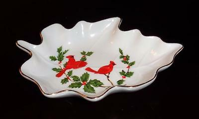 "LEFTON DECORATIVE PORCELAIN BIRD DISH ""Leaf Shape Hand Painted #04541"""