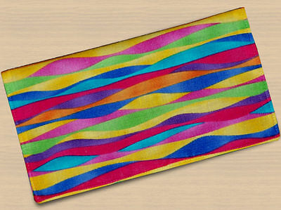Checkbook Covers Fabric Rainbow Vibrant Stripes Red Handmade