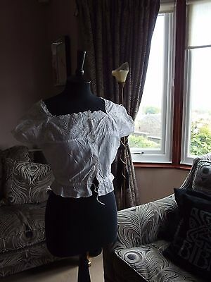 antique vintage Edwardian Blouse bodice cami top embroidered front