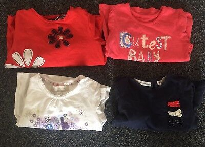 4x Girls Tops 9 To 12 Months