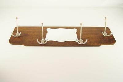Vintage Mid Century wooden wall coat rack with small mirror
