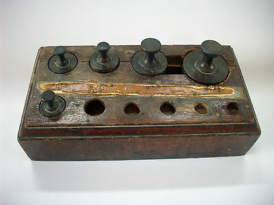 Vintage Apothecary Brass Weights in Wooden Box