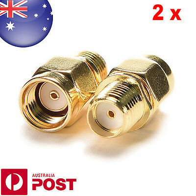 2 xQUALITY - RP SMA Male Plug to SMA Female Jack Straight RF Coax Connector Z078