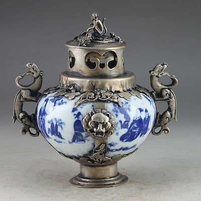Chinese Handwork Painting Blue And White Porcelain Incense Burner