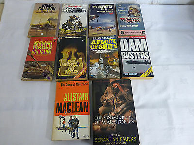 Mixed Military/War Paperbacks x10 - Includes: Brickhill, Hassel, Maclean, Faulks
