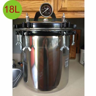 18L Steam Autoclave Sterilizer Dental Medical Tattoo Pressure Sterilization FDA