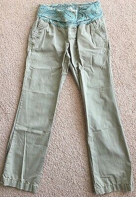 """Old Navy Maternity Brand Light Olive Green, Cotton, """"Roll Over"""" Pants-sz Small"""