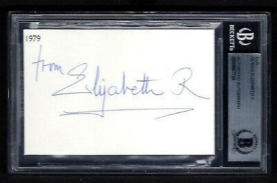 Queen Elizabeth II signed card BAS Authenticated Queen of the United Kingdom
