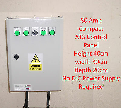 80A ATS Automatic Transfer Switch Compact Single Phase 80 Amp+Gen 2 Wire Start