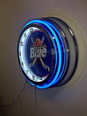 "Labatt Blue Hockey -  Blue Neon Clock - Large 19"" Diam."