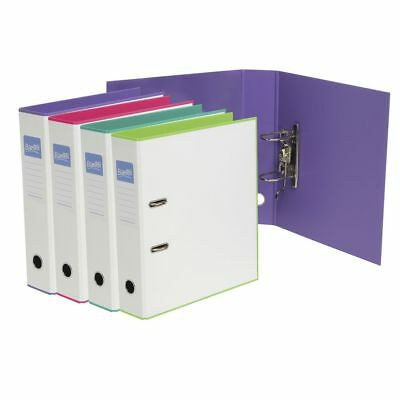 Bulk Buy - 5 x Bantex A4 Duets Lever Arch File White and Purple