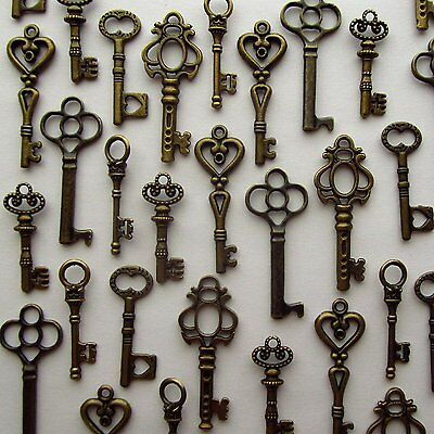 LOT OF 48 Vintage Style ANTIQUE SKELETON FURNITURE CABINET OLD LOCK KEYS Bronze
