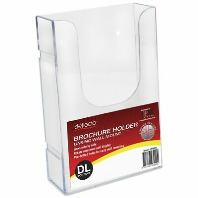 Bulk Buy - 3 x deflecto DL Wall Mount Portrait Brochure Holder