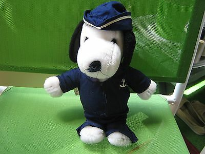 Vintage Peanuts 11 Inch Plush Snoopy In Original Sailor  Outfit..