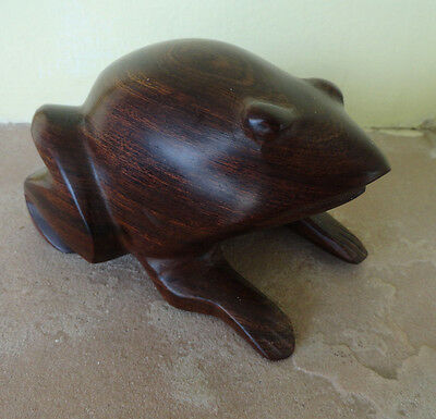 "Fat Toad Ironwood Frog Brown Wood Carving Sculpture 2.5"" Tall"