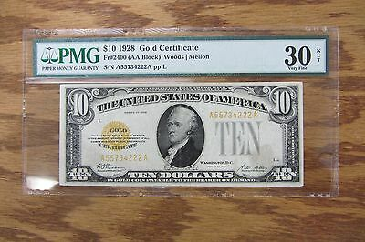 1928 United States $10 Gold Certificate Graded Pmg Vf 30 (Net - Tape Repaired)
