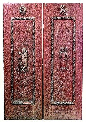 Pair of Asian Burmese Style (19th Cent.) Walnut Carved Door Panels