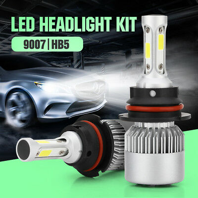 Pair 9007 HB5 200W 23800LM LED Headlight Kit Hi/Low Beam Bulb 6000K High Power