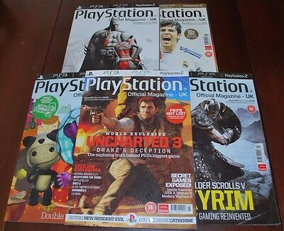 5 Copies Playstation Official Magazine Uk. Issues 049,050,053,055,057. 2010/2011