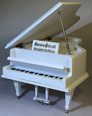 Miniature Dollhouse Music Box Grand Piano White Wood Brass Casters Beethoven