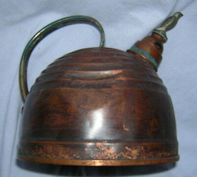 Vintage Copper Tea Kettle with Bird-Topped Whistler