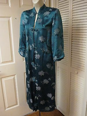 Vintage 60's Peony Shanghai Teal Asian Brocade Silk Satin Cheongsam Robe Dress S