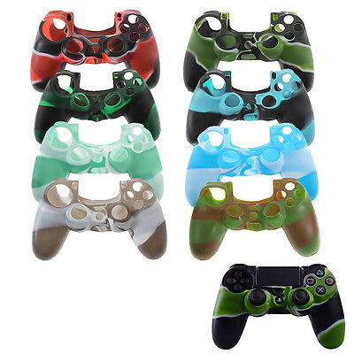 Camouflage Silicone Rubber Case Cover Skin Grip for PlayStation 4 PS4 Controller