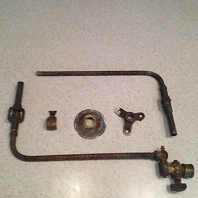 Antique 1800's Brass Gas Light Wall Sconce/fixture Arm And Valve + Parts Lot