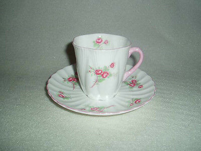 Shelley Bone China England  ROSE SPRAY Dainty DEMITASSE Cup & Saucer, Free Ship