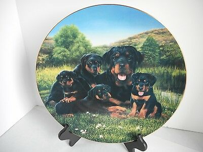 """Large 12"""" Rottweiler 'Mother's Day' Collector Plate by Simon Mendez"""