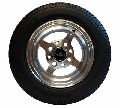 """GOLF CART 10"""" Machined Wheels and 205/50-10 Low Profile DOT Tires (4) {K1010}"""