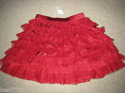 Nwt Baby Gap Girls Admirals Club Red Tulle Skirt Size 4 4T