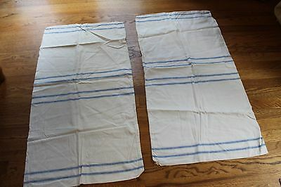 2 VINTAGE ANTIQUE GRAIN SACK HEMP LINEN STRIPE BLUE EUROPEAN FEED SACKS  20x37