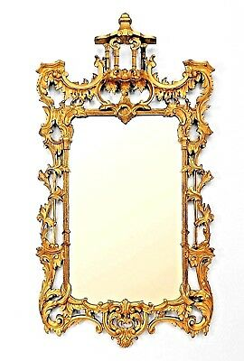 English Chinese Chippendale Style (19th/20th Cent.) Gilt Carved Wood Wall Mirror