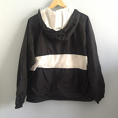 Charles River Apparel Black White Pullover Hooded Windbreaker Rain Jacket Small