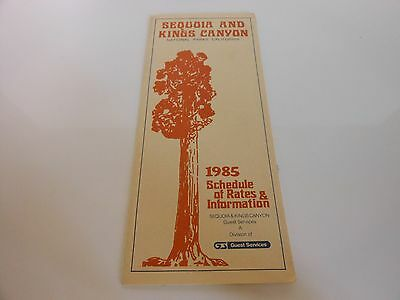 Sequoia and Kings Canyon National Parks Schedule of Rates & Information - 1985