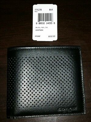 NWT Coach Double Bill Perforated Leather Wallet Black F75278