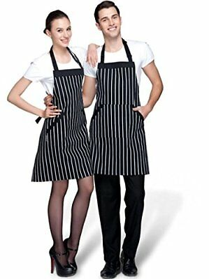 Adjustable Extra Long Ties with Pockets Unisex Cooking Baking Kitchen Apron