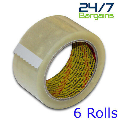 3M Scotch Clear/ Transparent Packaging / Packing Tape 48Mm X 66M-6 Rolls