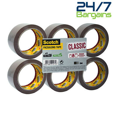 Scotch Classic (50Mm X 66M) Packaging Tape (Brown) Pack Of 6 Rolls